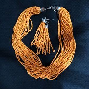 Jewelry - Orange multi strand beaded necklace & earrings